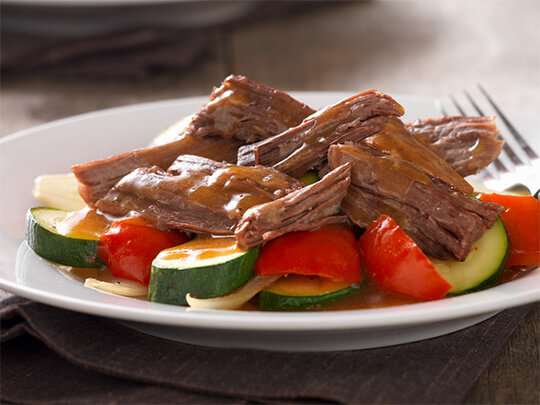 photo of slow cooker pot roast with peppers and zucchini