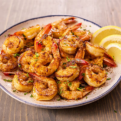 A plate of delicious southern spiced shrimp