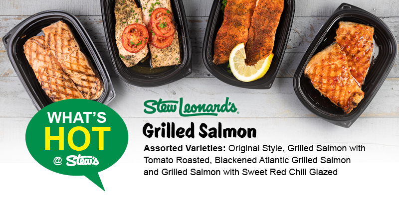 A photo of a selection of Stew Leonard's grilled salmon.