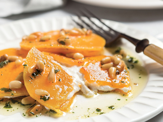 Butternut Ravioli On Plate