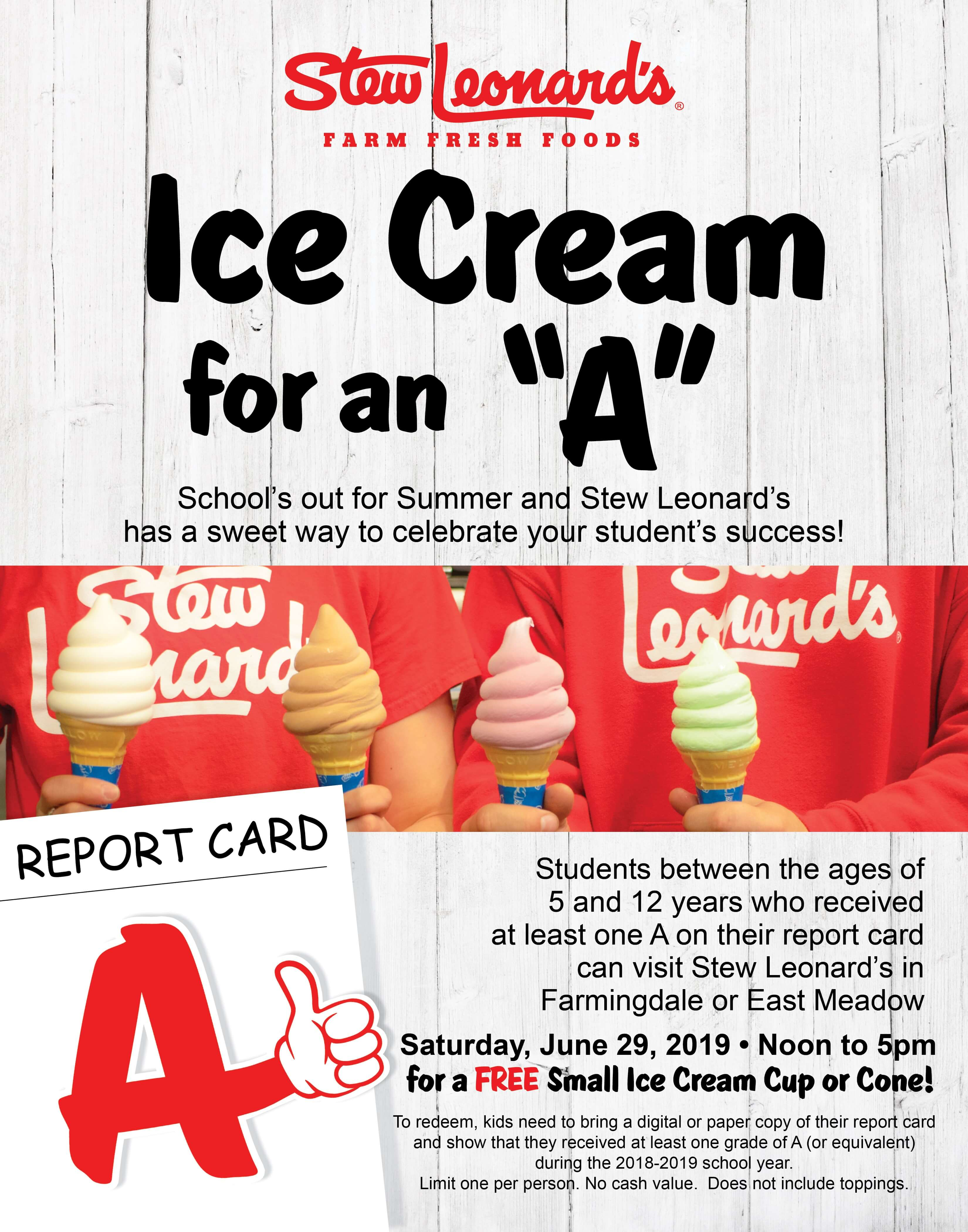 Get An Ice Cream For An A At Stew Leonards On Long Island Stew