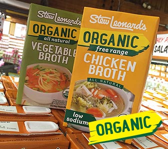 Boxes of Stew's Organic vegatable and chicken Broth