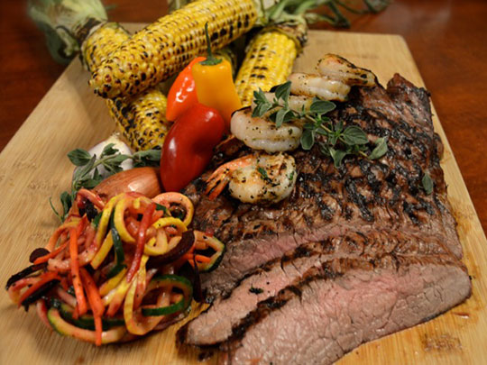 Grilled Flank Steak with Shrimp and Corn Salad